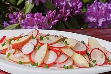 Radieschensalat mit Zwiebeln und Apfel