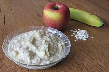 Apfel Banane Haferflocken Brei