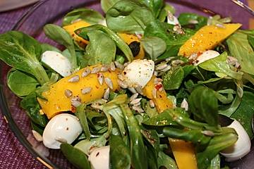 Feldsalat mit Mango und Mozzarella