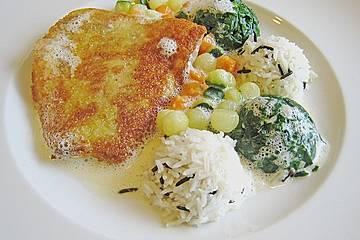 Rotbarsch mit Spinat, Gemüseperlen, Reis und Champagnersauce
