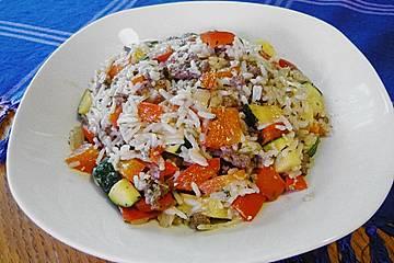 Griechische Reis - Tatar - Gemüse Pfanne