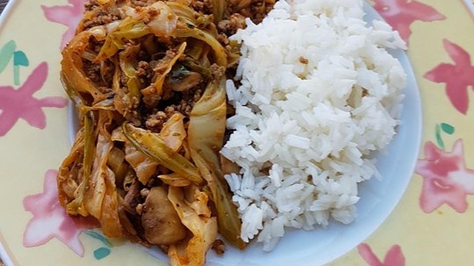 Spitzkohl-Champignon-Hack-Pfanne mit Reis von helene1980   Chefkoch