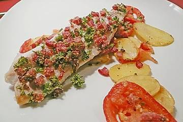 Rotbarsch mit Chorizo - Bröseln