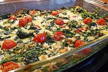 Spinat-Frittata vom Blech mit Feta-Käse und Tomaten