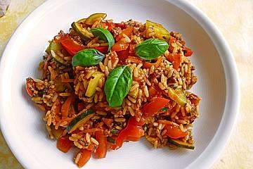 Mediterrane Zucchini-Reis-Pfanne mit Feta