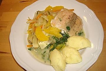 Fischfilet mit Zitronenbuttersoße und Fenchel - Karotten - Orangen - Gemüse