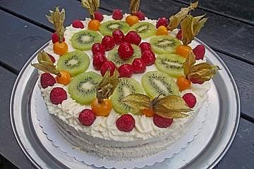 Dessert - Kuchen / Torte aus Quark, Joghurt und Obst auf 3-schichtigem Biskuitboden