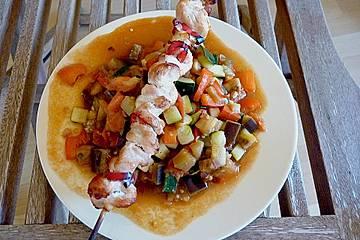 Hühnchenspieße mit Currygemüse