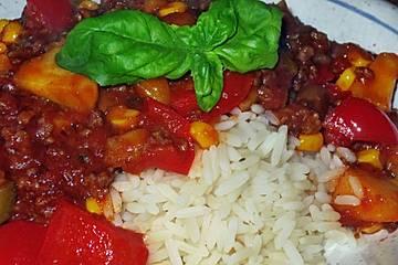 Tomaten - Champignon - Mais - Paprika - Topf mit Mett