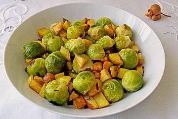Kartoffel-Rosenkohl-Pfanne mit Speck