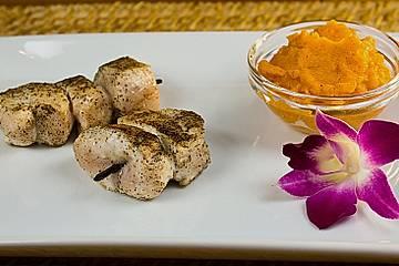 Hühnchen - Vanille - Spieß mit Karotten - Dip