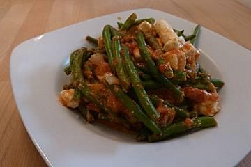 Grüne Bohnen Pfanne mit Feta