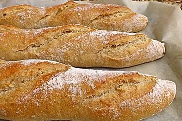 Baguette mit Sauerteig und Vorteig