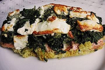 Lachsfilet mit Spinat und Couscous im Backpapier