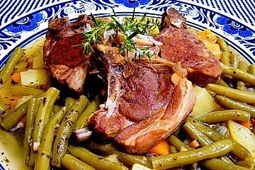 Lammkotelett mit grünen Bohnen