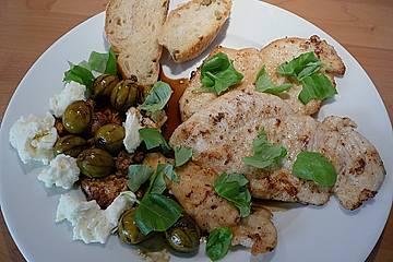 Putensteaks und Mozzarella mit Kaffee - Oliven - Sirup