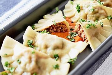 Ravioli mit Ricotta - Schinken - Füllung
