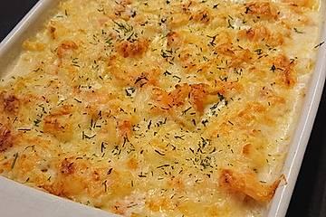 Käsespätzle mit Lachs und Shrimps - Auflauf