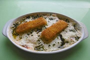 Tomaten – Mozzarella – Gratin mit Fischstäbchen
