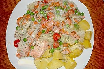 Chrissis Ofenlachsfilet auf Kohlrabi - Erbsen - Gemüse