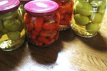 Grüne Tomaten süß - sauer eingelegt