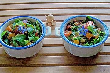 Blattsalate mit Avocado, Speck und Tomaten