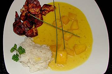 Putenbruststreifen an süß - scharfer Mangosahnesoße mit Reis