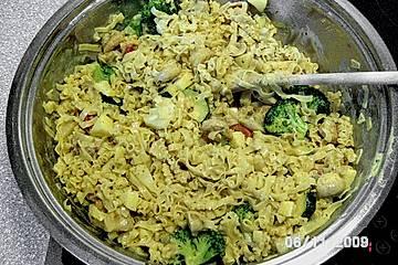 Gemüse -  Nudelcurry mit Garnelen