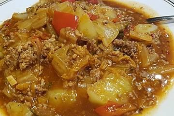 Chinakohl - Eintopf mit Hackfleisch im Schnellkochtopf