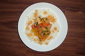 Paprika - Hähnchen mit Curry und Kokos