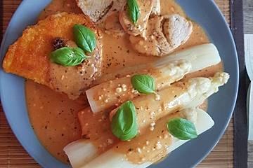 Spargel in rosa Basilikum - Käse - Sauce mit Filet vom Schwein, Huhn oder Pute