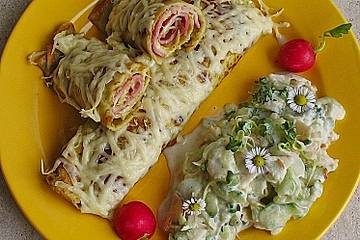 Überbackene Schinken - Käse - Crepes