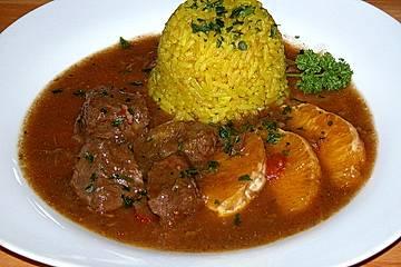 Rinderragout mit Orangen und Curry