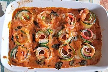 Zucchini-Schinkenröllchen überbacken