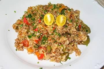 Reispfanne mit Rinderhack