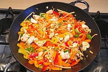 Gebratene Hühnerbrust mit Ingwer - Gemüse