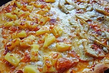 Pizza mit Schinken und Ananas   Chefkoch