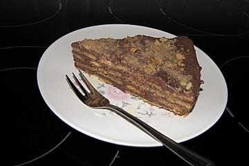 Portugiesischer Kekskuchen mit Schokoladencrémefüllung - ohne Backen