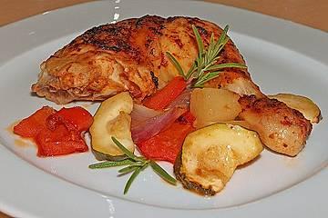 Hähnchenkeulen auf Paprika und Ananas