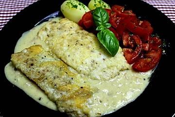 Backfisch mit Senfsoße