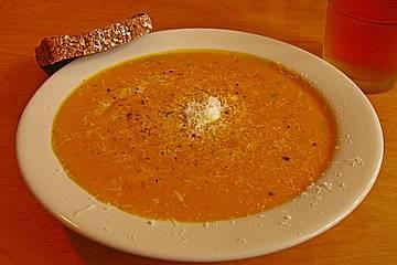 Kürbissuppe mit verschiedenen Käsesorten und Variationen