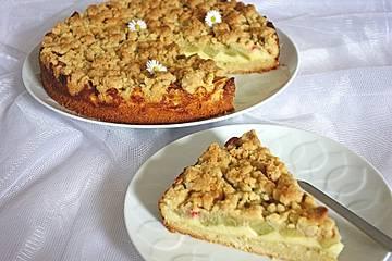 Rhabarber - Streuselkuchen mit Vanillepudding