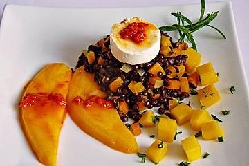 Linsensalat mit Mango und Ziegenkäse