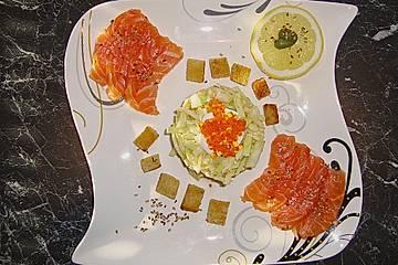 Sashimi  auf  Spitzkohlsalat