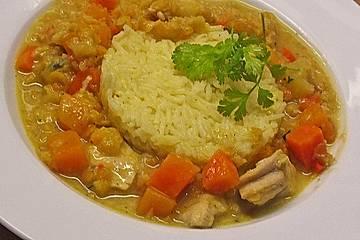Hühner-Linsen-Curry mit Kürbis