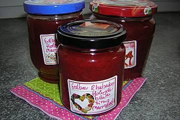 Erdbeer-Rhabarber-Holunderblütensirup Marmelade