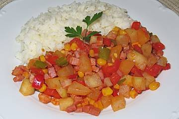 Buntes Gemüse mit Käsereis