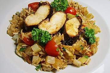 Eikos Sesamhühnchen mit Kohlrabireis und frischen Tomaten