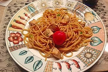 Spaghetti mit Hühnchenbrust und Shrimps