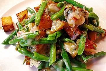 Würzige Kartoffel-grüne Bohnen Pfanne